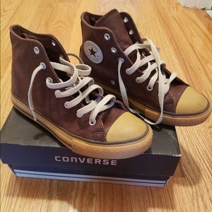Converse high top brown sneakers with box